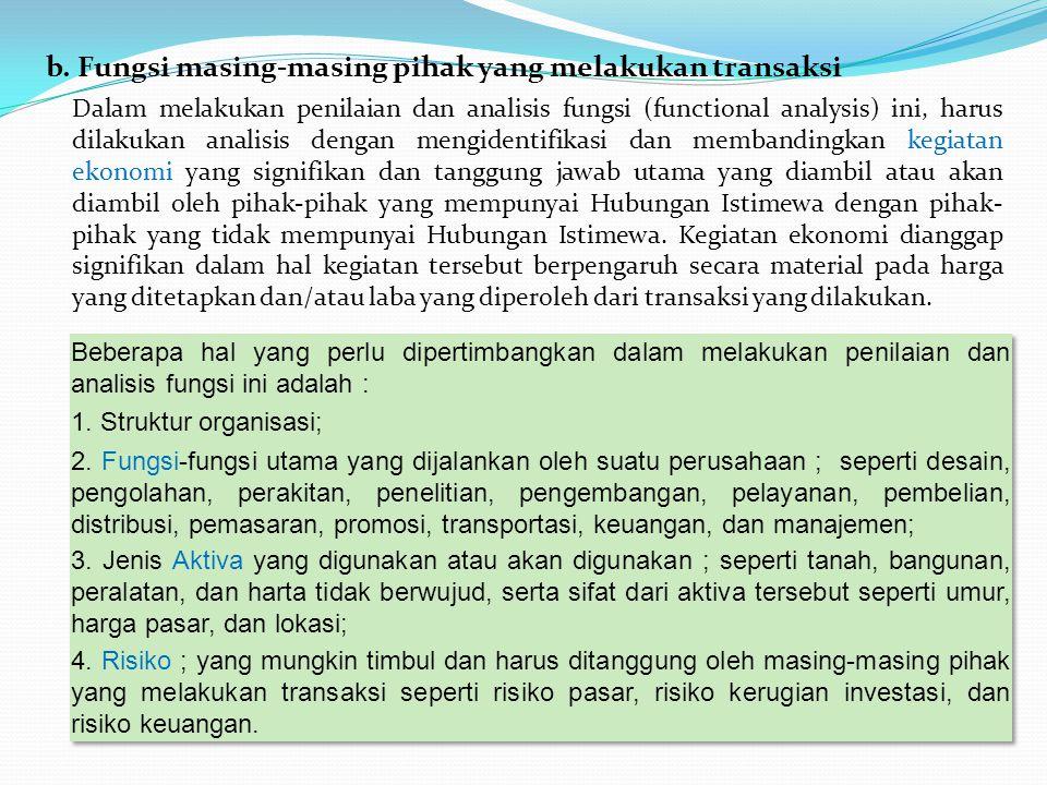 b. Fungsi masing-masing pihak yang melakukan transaksi Dalam melakukan penilaian dan analisis fungsi (functional analysis) ini, harus dilakukan analis
