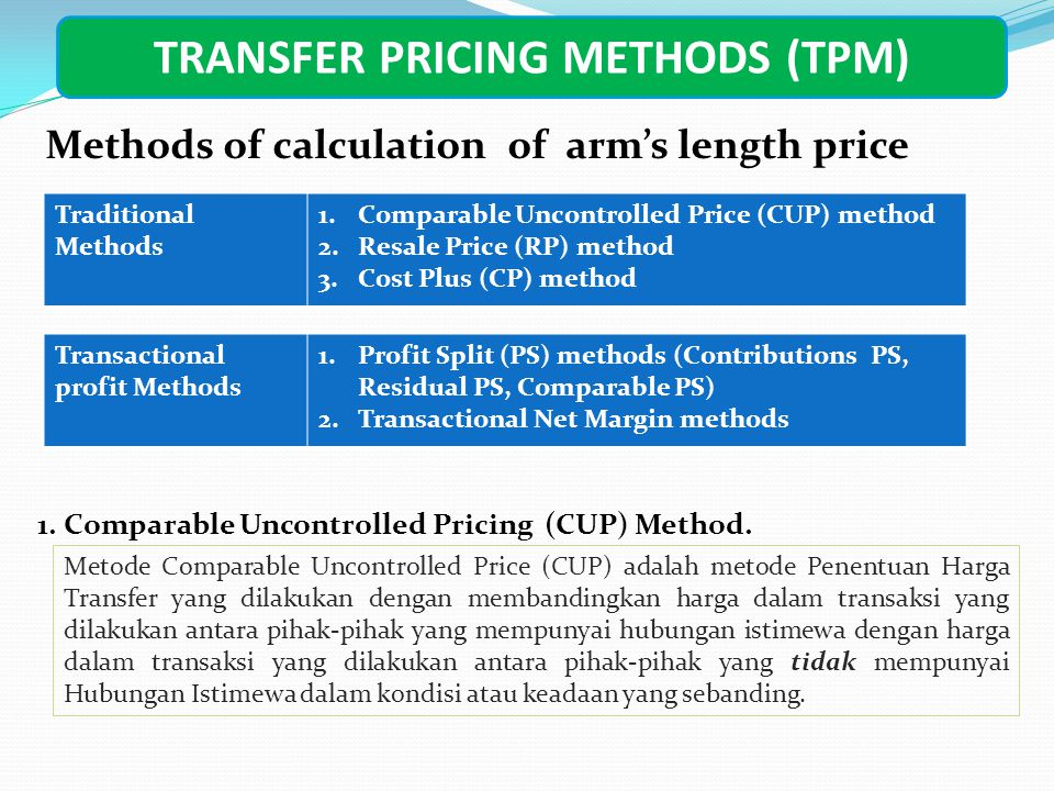 TRANSFER PRICING METHODS (TPM) Methods of calculation of arm's length price Traditional Methods 1.Comparable Uncontrolled Price (CUP) method 2.Resale Price (RP) method 3.Cost Plus (CP) method Transactional profit Methods 1.Profit Split (PS) methods (Contributions PS, Residual PS, Comparable PS) 2.Transactional Net Margin methods 1.