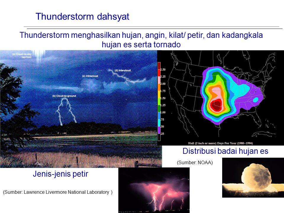 Thunderstorm dahsyat Thunderstorm menghasilkan hujan, angin, kilat/ petir, dan kadangkala hujan es serta tornado (Sumber: NOAA) (Sumber: Lawrence Live