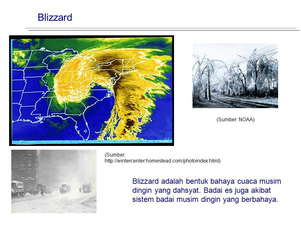 Blizzard (Sumber: NOAA) Blizzard adalah bentuk bahaya cuaca musim dingin yang dahsyat. Badai es juga akibat sistem badai musim dingin yang berbahaya.