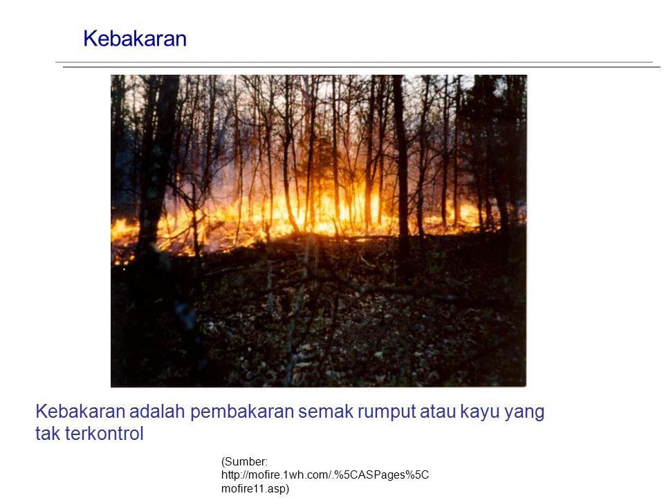Kebakaran (Sumber: http://mofire.1wh.com/.%5CASPages%5C mofire11.asp) Kebakaran adalah pembakaran semak rumput atau kayu yang tak terkontrol