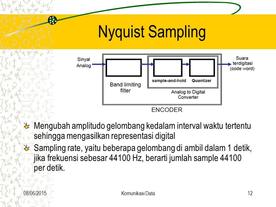 08/06/2015Komunikasi Data12 Nyquist Sampling Mengubah amplitudo gelombang kedalam interval waktu tertentu sehingga mengasilkan representasi digital Sa