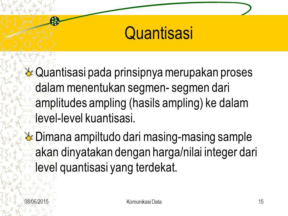 08/06/2015Komunikasi Data15 Quantisasi Quantisasi pada prinsipnya merupakan proses dalam menentukan segmen- segmen dari amplitudes ampling (hasils amp
