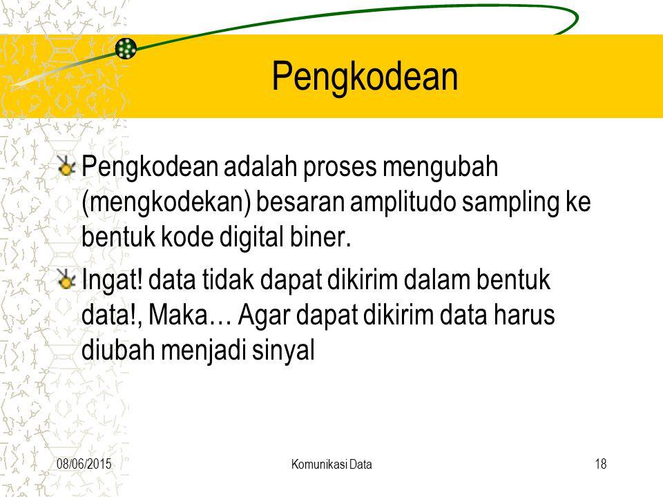08/06/2015Komunikasi Data18 Pengkodean Pengkodean adalah proses mengubah (mengkodekan) besaran amplitudo sampling ke bentuk kode digital biner. Ingat!
