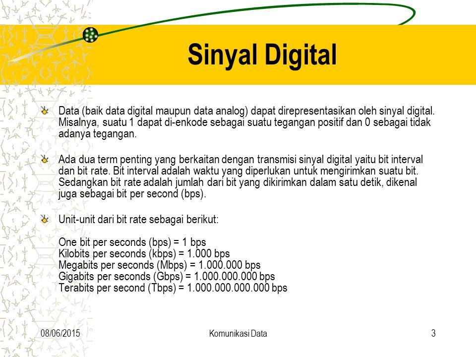 08/06/2015Komunikasi Data3 Sinyal Digital Data (baik data digital maupun data analog) dapat direpresentasikan oleh sinyal digital. Misalnya, suatu 1 d