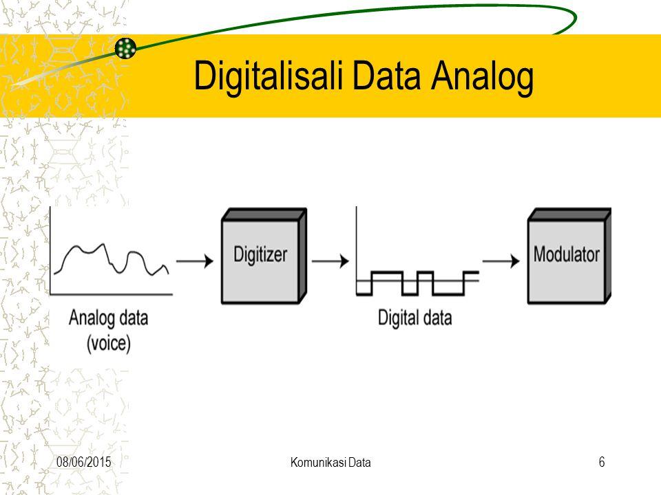 08/06/2015Komunikasi Data27 Digital data to digital signal Manchester aturan : data = 1 >>> tegangan naik data = 0 >>> tegangan turun perubahan tegangan terjadi di tengah clock