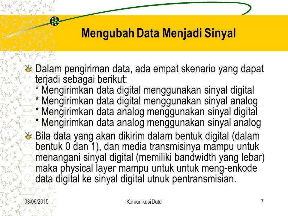 08/06/2015Komunikasi Data8 Modulasi - Konversi Digital ke Analog Kadangkala physical layer perlu merubah data digital menjadi sinyal analog, misalnya saat penggunaan telepon konvensional untuk mengirim data digital via Internet.