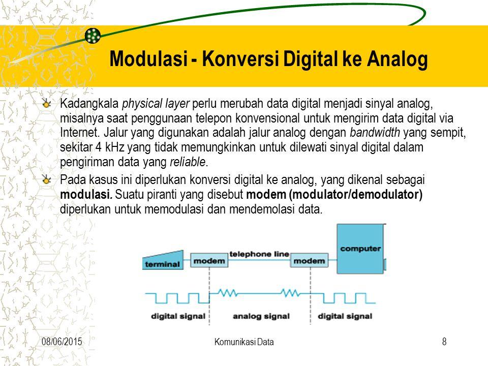 08/06/2015Komunikasi Data29 Digital data to digital signal Bipolar aturan : data = 0 tegangan 0 data = 1 tegangan tinggi dengan polaritas berlawanan terhadap tegangan tinggi yang terjadi sebelumnya setiap tegangan berlangsung ½ clock