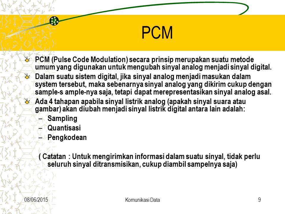 08/06/2015Komunikasi Data9 PCM PCM (Pulse Code Modulation) secara prinsip merupakan suatu metode umum yang digunakan untuk mengubah sinyal analog menj