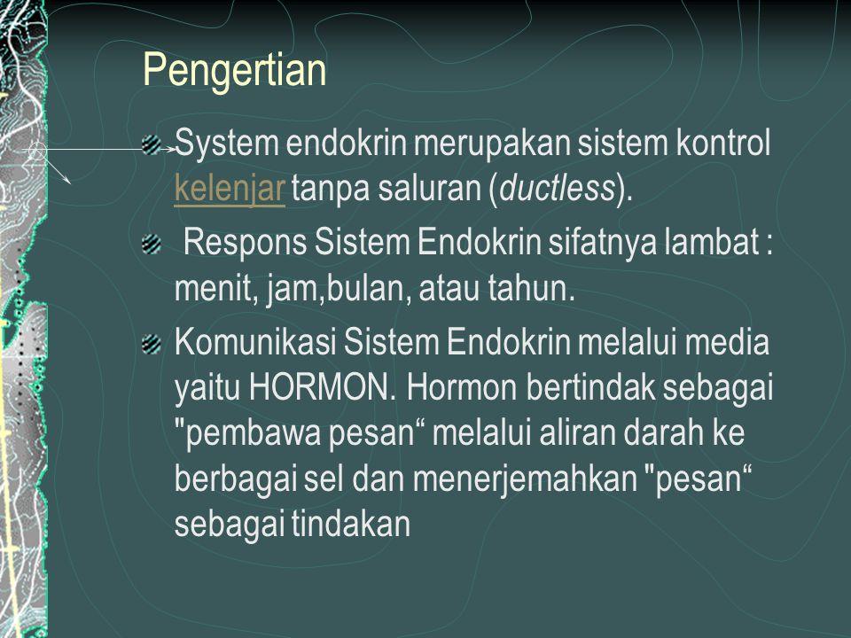 SIFAT-SIFAT HORMON Bekerja secara spesifik pada organ, bagian tubuh tertentu atau aktivitas tertentu Dihasilkan tubuh dalam jumlah yang sangat sedikit tetapi memiliki pengaruh besar terhadap aktivitas tertentu dalam tubuh Bekerja lambat, pengaruh hormon tidak spontan seperti pada pengaturan oleh syaraf Sebagai senyawa kimia, hormon tidak dihasilkan setiap waktu.