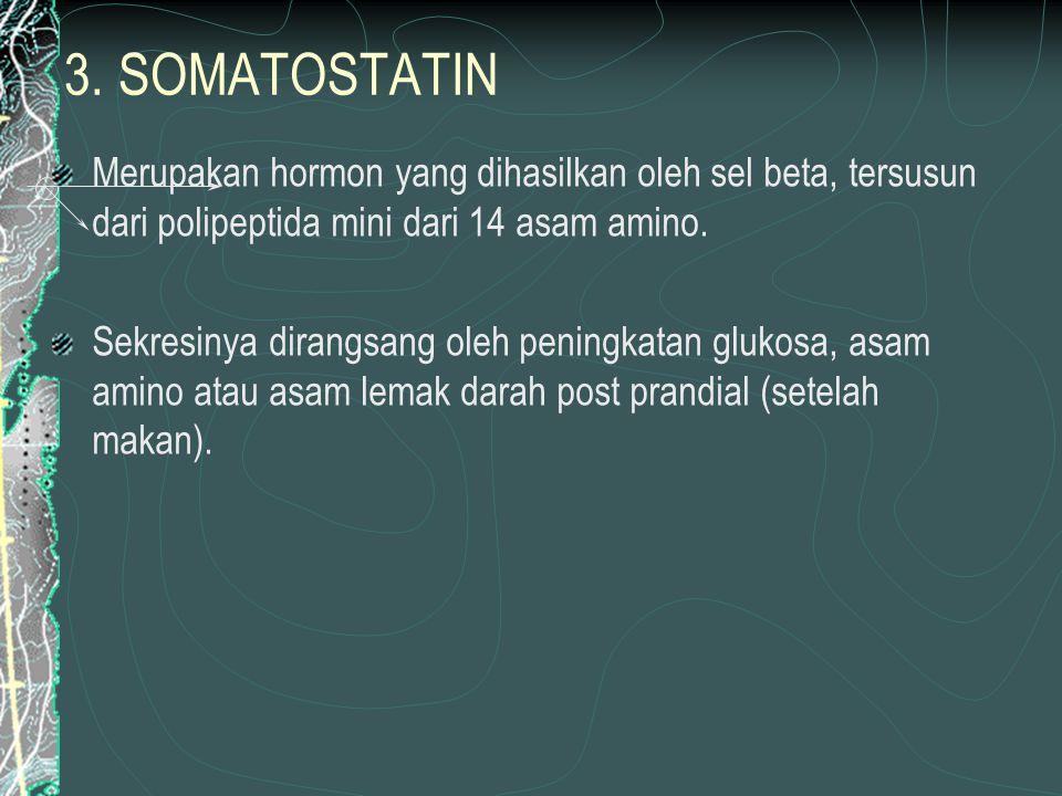 3. SOMATOSTATIN Merupakan hormon yang dihasilkan oleh sel beta, tersusun dari polipeptida mini dari 14 asam amino. Sekresinya dirangsang oleh peningka