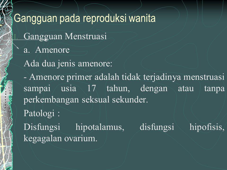 Gangguan pada reproduksi wanita I.Gangguan Menstruasi a.