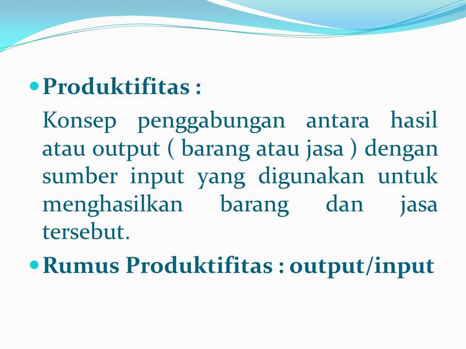 Produktifitas : Konsep penggabungan antara hasil atau output ( barang atau jasa ) dengan sumber input yang digunakan untuk menghasilkan barang dan jas