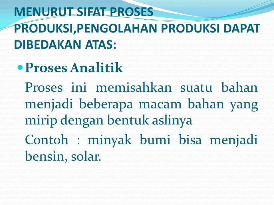 Proses Analitik Proses ini memisahkan suatu bahan menjadi beberapa macam bahan yang mirip dengan bentuk aslinya Contoh : minyak bumi bisa menjadi bens