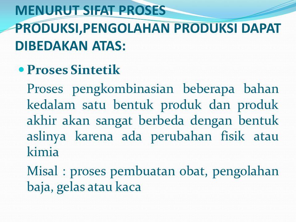 Proses Sintetik Proses pengkombinasian beberapa bahan kedalam satu bentuk produk dan produk akhir akan sangat berbeda dengan bentuk aslinya karena ada
