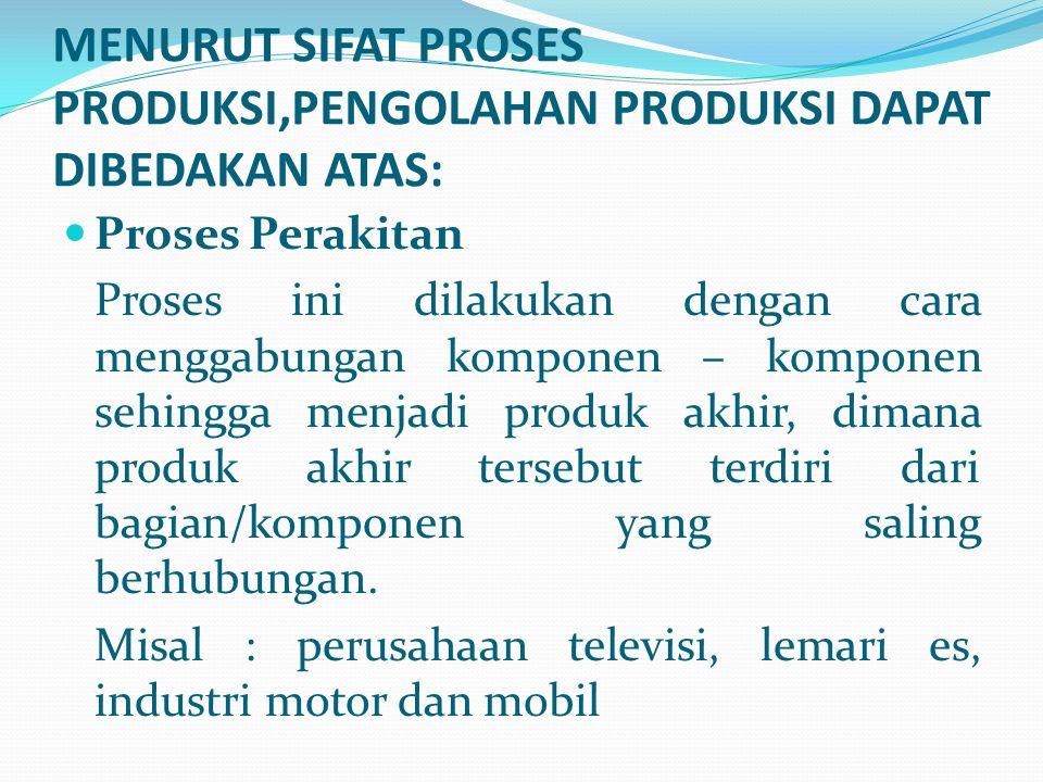Proses Perakitan Proses ini dilakukan dengan cara menggabungan komponen – komponen sehingga menjadi produk akhir, dimana produk akhir tersebut terdiri