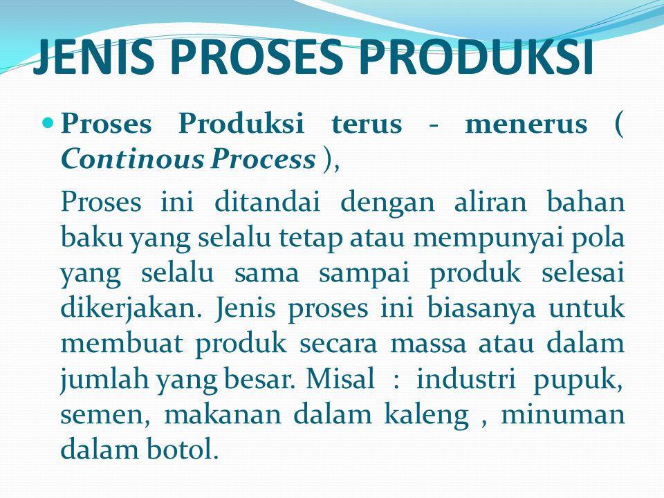 JENIS PROSES PRODUKSI Proses Produksi terus - menerus ( Continous Process ), Proses ini ditandai dengan aliran bahan baku yang selalu tetap atau mempu