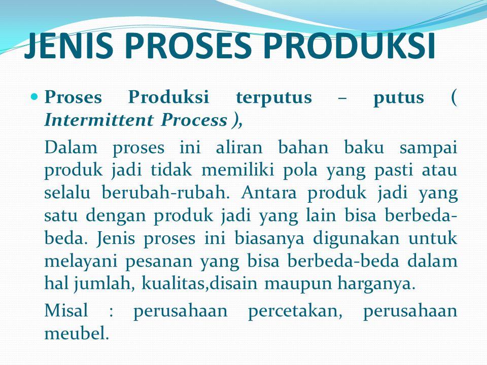 Proses Produksi terputus – putus ( Intermittent Process ), Dalam proses ini aliran bahan baku sampai produk jadi tidak memiliki pola yang pasti atau s