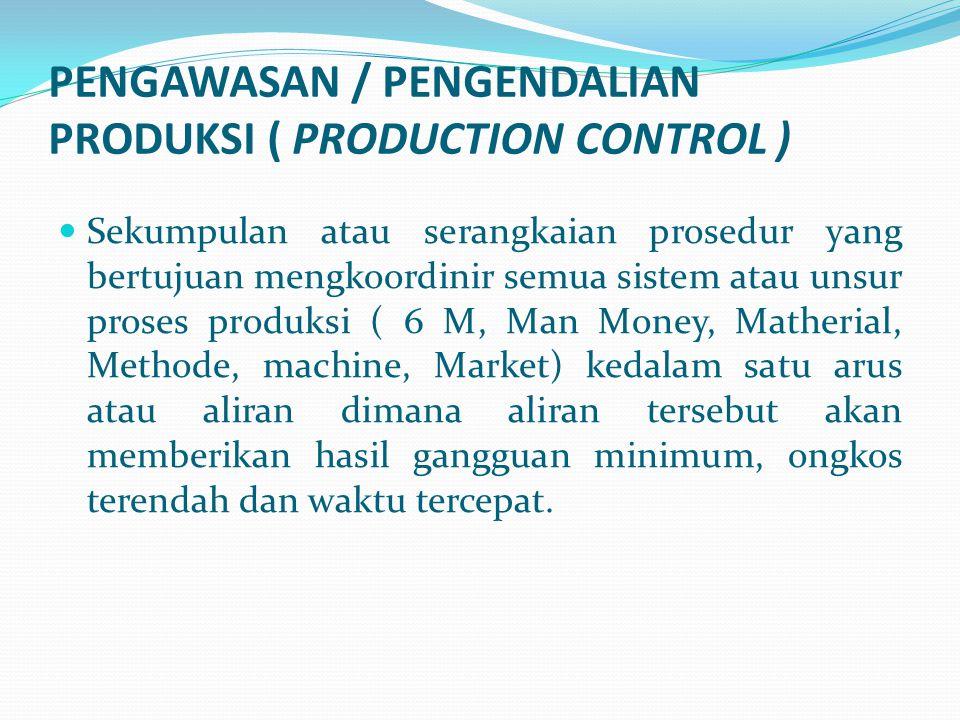 PENGAWASAN / PENGENDALIAN PRODUKSI ( PRODUCTION CONTROL ) Sekumpulan atau serangkaian prosedur yang bertujuan mengkoordinir semua sistem atau unsur pr