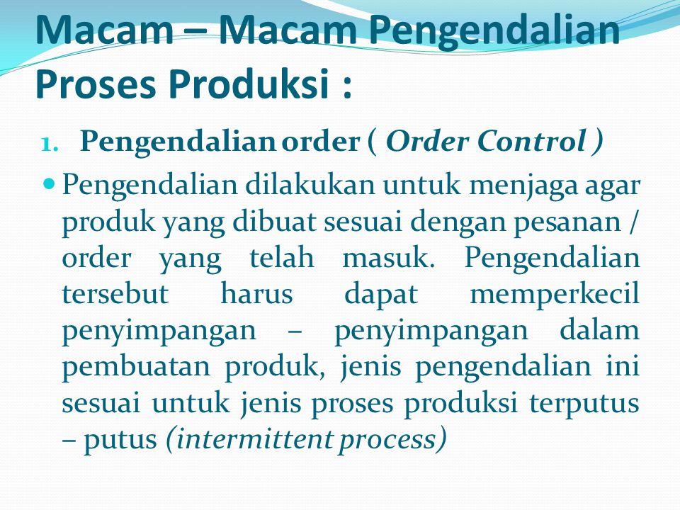 Macam – Macam Pengendalian Proses Produksi : 1. Pengendalian order ( Order Control ) Pengendalian dilakukan untuk menjaga agar produk yang dibuat sesu