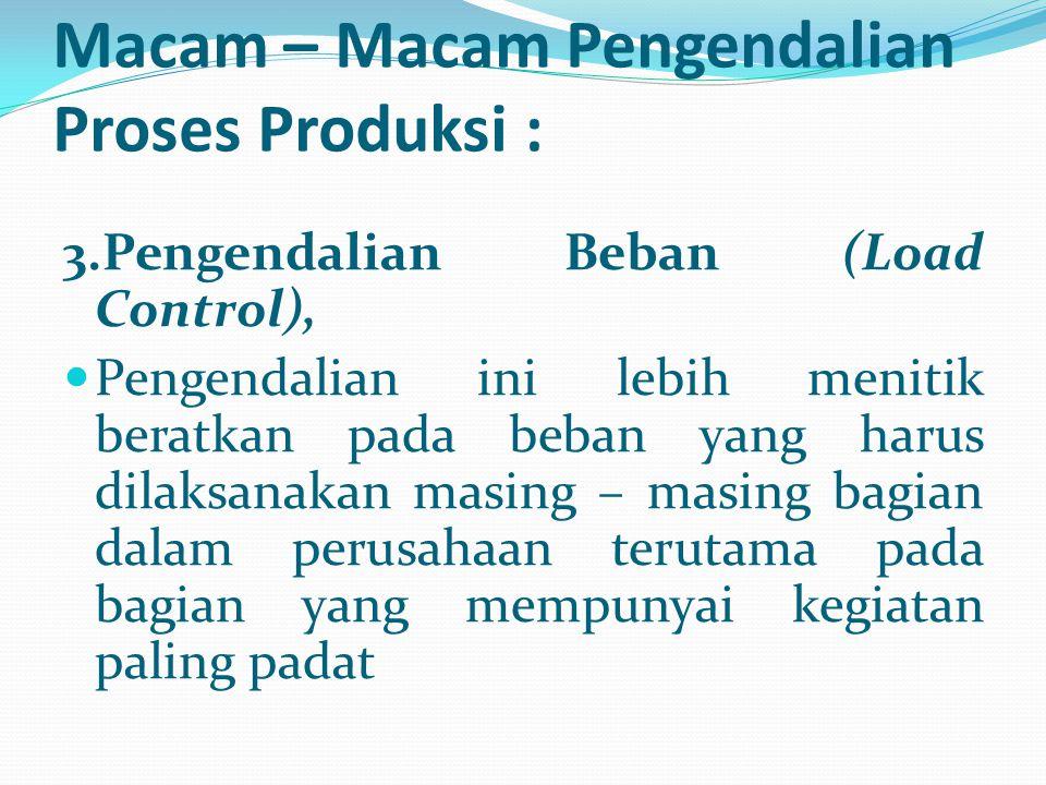 3.Pengendalian Beban (Load Control), Pengendalian ini lebih menitik beratkan pada beban yang harus dilaksanakan masing – masing bagian dalam perusahaa