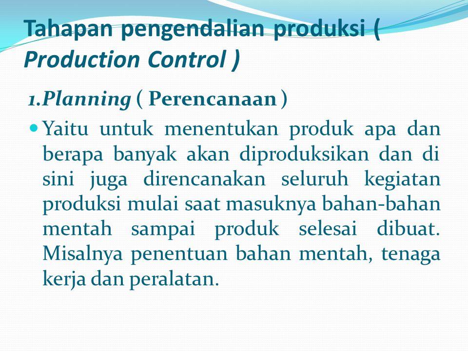 Tahapan pengendalian produksi ( Production Control ) 1.Planning ( Perencanaan ) Yaitu untuk menentukan produk apa dan berapa banyak akan diproduksikan