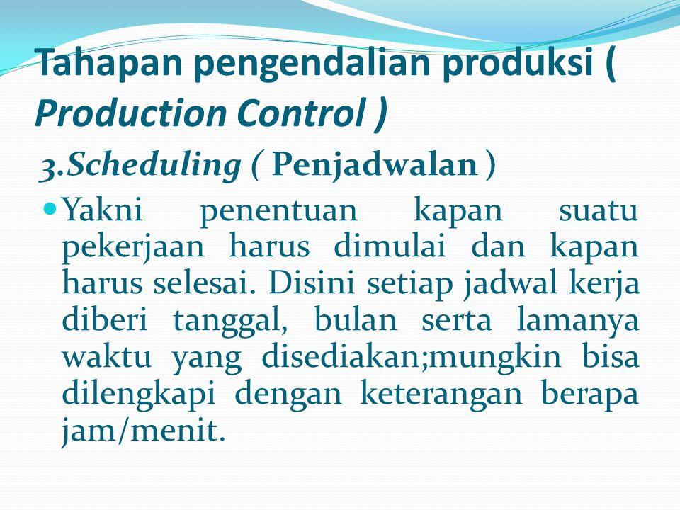 Tahapan pengendalian produksi ( Production Control ) 3.Scheduling ( Penjadwalan ) Yakni penentuan kapan suatu pekerjaan harus dimulai dan kapan harus
