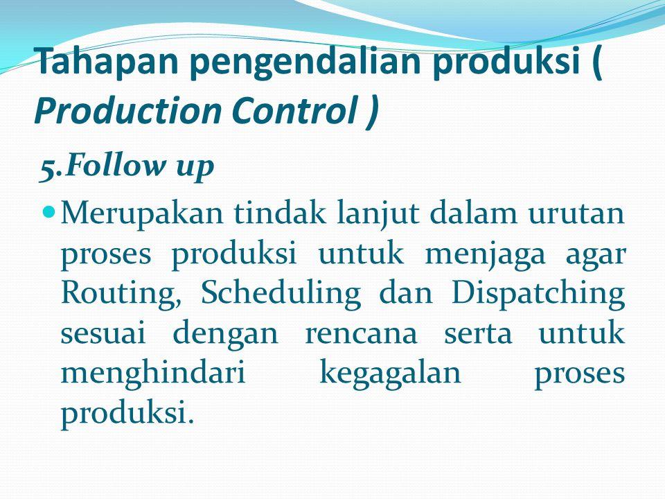 Tahapan pengendalian produksi ( Production Control ) 5.Follow up Merupakan tindak lanjut dalam urutan proses produksi untuk menjaga agar Routing, Sche