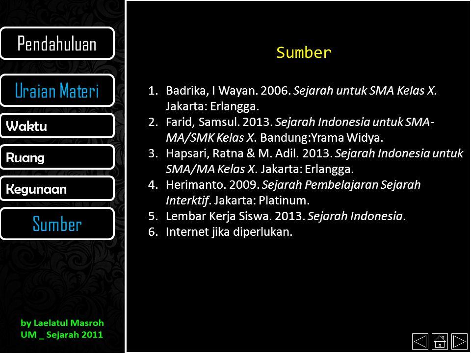 Sumber 1.Badrika, I Wayan. 2006. Sejarah untuk SMA Kelas X. Jakarta: Erlangga. 2.Farid, Samsul. 2013. Sejarah Indonesia untuk SMA- MA/SMK Kelas X. Ban