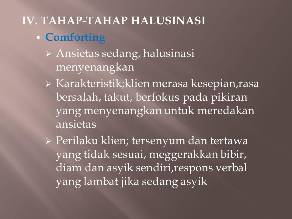 IV. TAHAP-TAHAP HALUSINASI  Comforting  Ansietas sedang, halusinasi menyenangkan  Karakteristik;klien merasa kesepian,rasa bersalah, takut, berfoku
