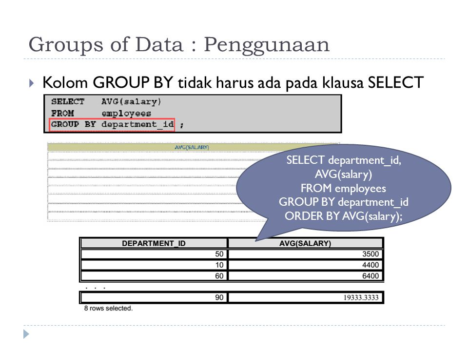 Groups of Data : Penggunaan  Kolom GROUP BY tidak harus ada pada klausa SELECT SELECT department_id, AVG(salary) FROM employees GROUP BY department_i