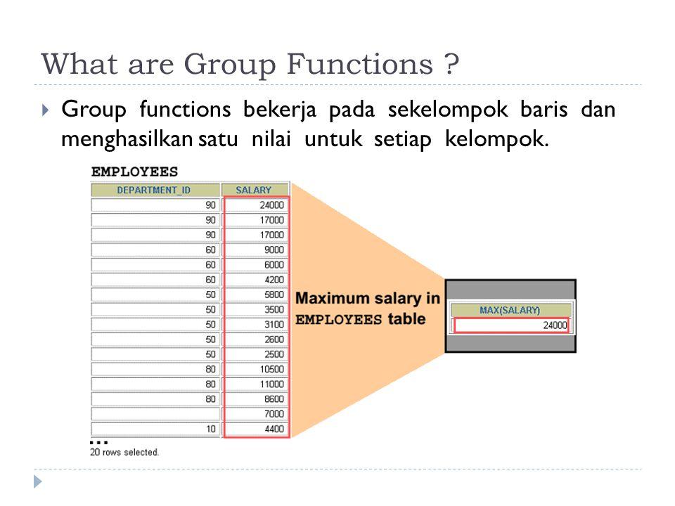 Groups of Data : Penggunaan  Kolom GROUP BY tidak harus ada pada klausa SELECT SELECT department_id, AVG(salary) FROM employees GROUP BY department_id ORDER BY AVG(salary);