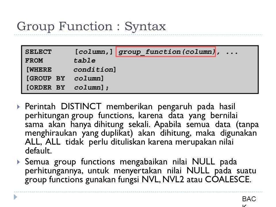 Group Function : Syntax  Perintah DISTINCT memberikan pengaruh pada hasil perhitungan group functions, karena data yang bernilai sama akan hanya dihitung sekali.