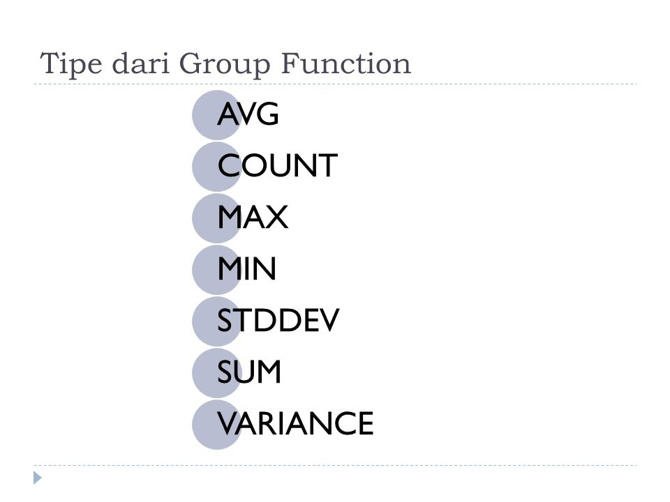 Tipe dari Group Function AVG COUNT MAX MIN STDDEV SUM VARIANCE