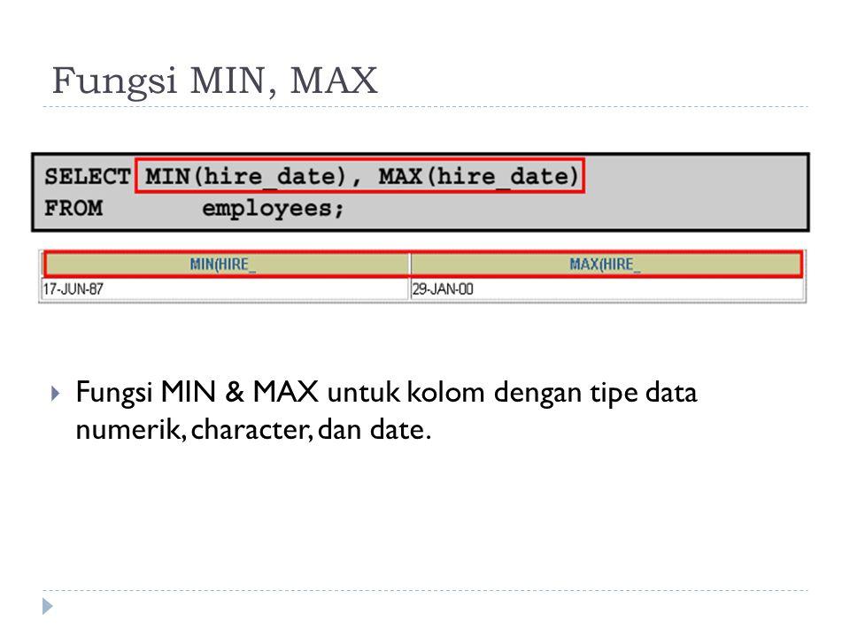 Fungsi MIN, MAX  Fungsi MIN & MAX untuk kolom dengan tipe data numerik, character, dan date.