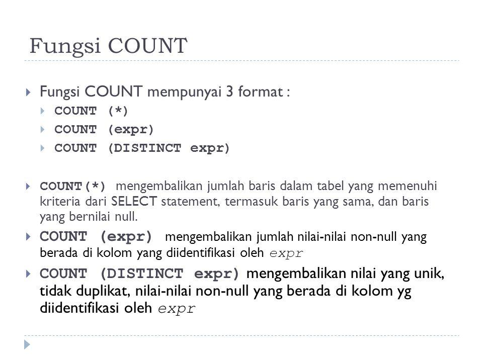 Fungsi COUNT  Fungsi COUNT mempunyai 3 format :  COUNT (*)  COUNT (expr)  COUNT (DISTINCT expr)  COUNT(*) mengembalikan jumlah baris dalam tabel yang memenuhi kriteria dari SELECT statement, termasuk baris yang sama, dan baris yang bernilai null.