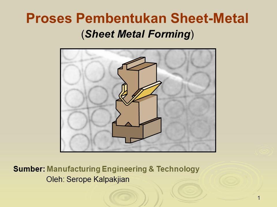 2 Proses pembentukan sheet metal Banyak produk dihasilkan dari proses pembentukan sheet metal (lembaran logam, kebanyakan dari low-carbon steel).