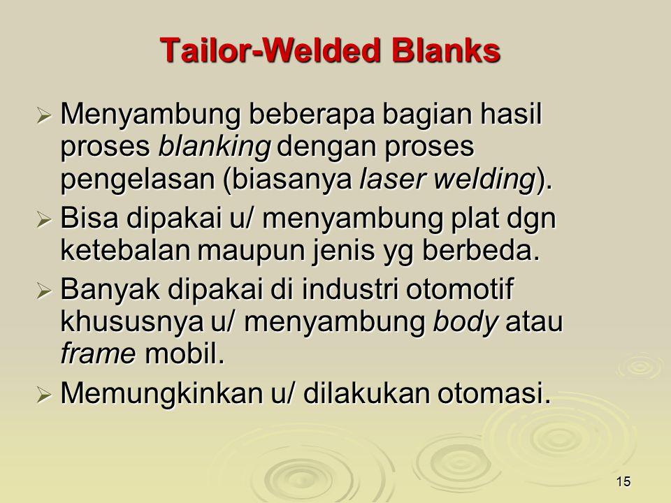 15 Tailor-Welded Blanks  Menyambung beberapa bagian hasil proses blanking dengan proses pengelasan (biasanya laser welding).  Bisa dipakai u/ menyam