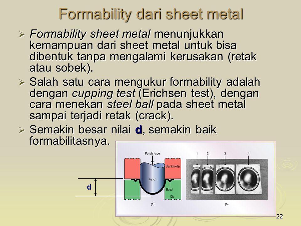22 Formability dari sheet metal  Formability sheet metal menunjukkan kemampuan dari sheet metal untuk bisa dibentuk tanpa mengalami kerusakan (retak