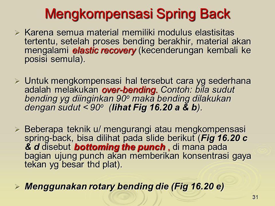 31 Mengkompensasi Spring Back  Karena semua material memiliki modulus elastisitas tertentu, setelah proses bending berakhir, material akan mengalami