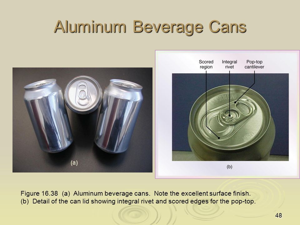 48 Aluminum Beverage Cans Figure 16.38 (a) Aluminum beverage cans. Note the excellent surface finish. (b) Detail of the can lid showing integral rivet