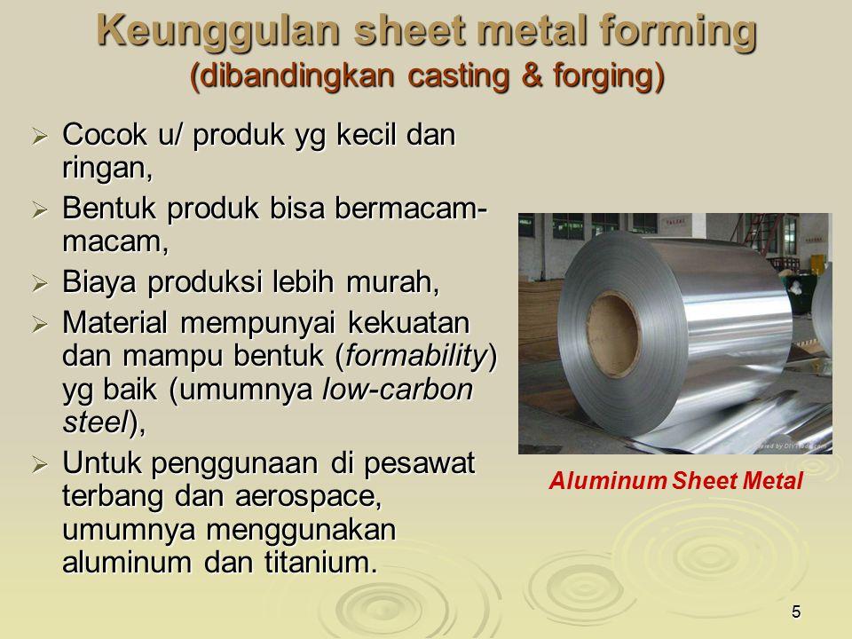 5 Keunggulan sheet metal forming (dibandingkan casting & forging)  Cocok u/ produk yg kecil dan ringan,  Bentuk produk bisa bermacam- macam,  Biaya produksi lebih murah,  Material mempunyai kekuatan dan mampu bentuk (formability) yg baik (umumnya low-carbon steel),  Untuk penggunaan di pesawat terbang dan aerospace, umumnya menggunakan aluminum dan titanium.