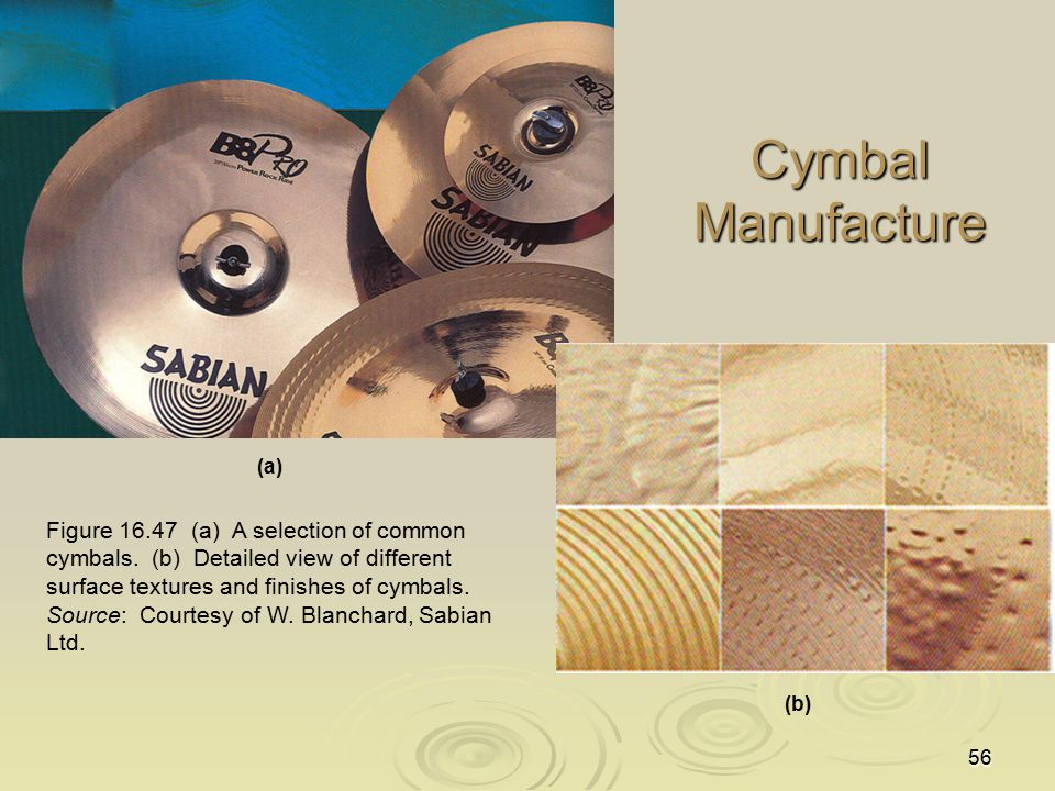 56 Cymbal Manufacture Figure 16.47 (a) A selection of common cymbals. (b) Detailed view of different surface textures and finishes of cymbals. Source: