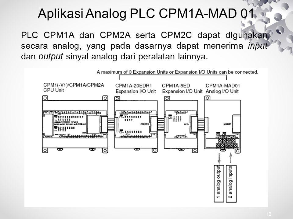 Aplikasi Analog PLC CPM1A-MAD 01 PLC CPM1A dan CPM2A serta CPM2C dapat dIgunakan secara analog, yang pada dasarnya dapat menerima input dan output sin