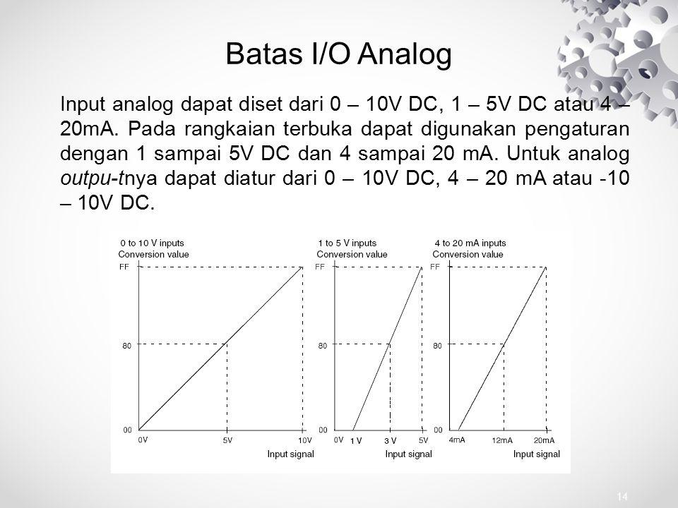 Batas I/O Analog Input analog dapat diset dari 0 – 10V DC, 1 – 5V DC atau 4 – 20mA. Pada rangkaian terbuka dapat digunakan pengaturan dengan 1 sampai