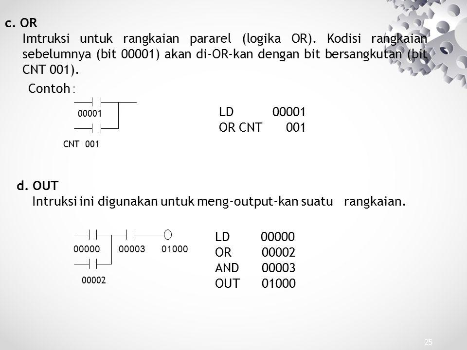 25 c. OR Imtruksi untuk rangkaian pararel (logika OR). Kodisi rangkaian sebelumnya (bit 00001) akan di-OR-kan dengan bit bersangkutan (bit CNT 001). C