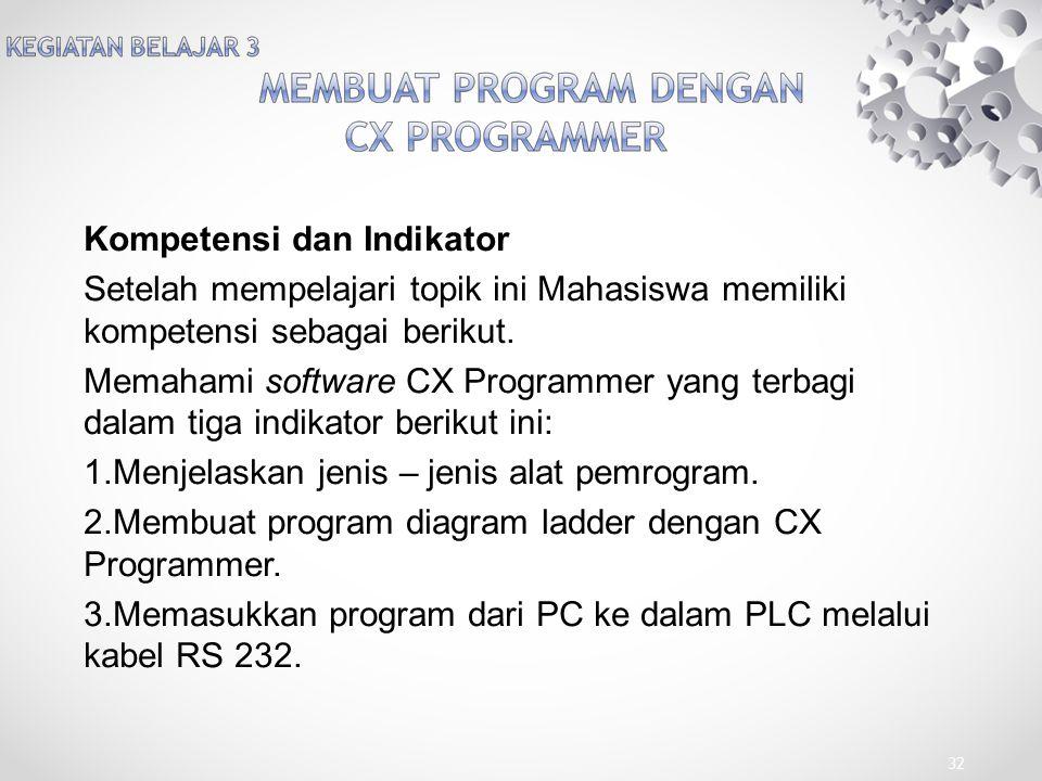 Kompetensi dan Indikator Setelah mempelajari topik ini Mahasiswa memiliki kompetensi sebagai berikut. Memahami software CX Programmer yang terbagi dal