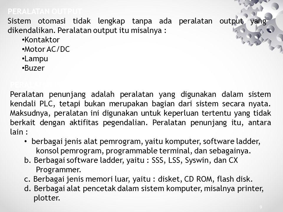 20 Program PLC dapat dibuat dengan menggunakan beberapa cara yang disebut bahasa pemrograman.