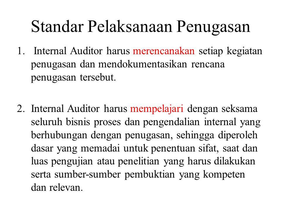 Standar Pelaksanaan Penugasan 1. Internal Auditor harus merencanakan setiap kegiatan penugasan dan mendokumentasikan rencana penugasan tersebut. 2.Int