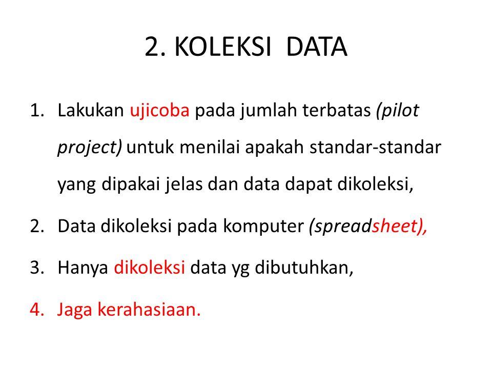 2. KOLEKSI DATA 1.Lakukan ujicoba pada jumlah terbatas (pilot project) untuk menilai apakah standar-standar yang dipakai jelas dan data dapat dikoleks